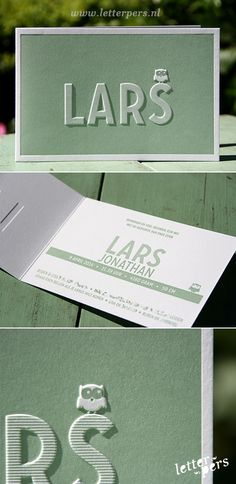 letterpers_letterpress_geboortekaartje_lars_preeg_uil_mint_lief Baby Kids, Baby Boy, Birth Announcement Boy, Little Fashionista, Letterpress, Business Cards, Stationery, Place Card Holders, 3d Printing