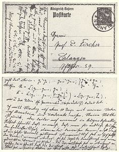 Noether sometimes used postcards to discuss abstract algebra with her colleague, Ernst Fischer; this card is postmarked 10 April 1915