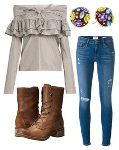 """""""A little bit of a country yet stylish feel"""" by tori-holbrook-th on Polyvore featuring Betsey Johnson, Timberland, Frame Denim, Isa Arfen and country"""
