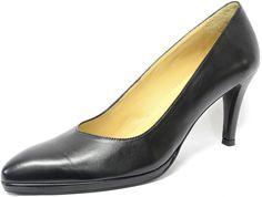 chaussures   femmes grandes pointures noir cuir lisse