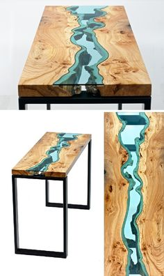 Wood Furniture Embedded with Glass Rivers and Lakes by Greg Klassen