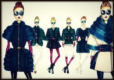 "mariana cino's illustrations on ""la pelliccia"" 2014  #fur #marianacino #hollygreen #petrolblue #marianacino #lapelliccia #furcollection #outerwear"
