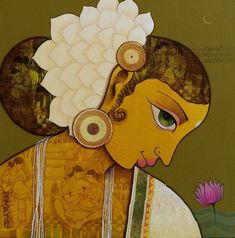 The sacred art as an offering to the Gods, and joy of men website page counter Indian Traditional Paintings, Indian Contemporary Art, Indian Art Paintings, Modern Art, Mural Painting, Fabric Painting, Figure Painting, Indian Folk Art, Indian Artist