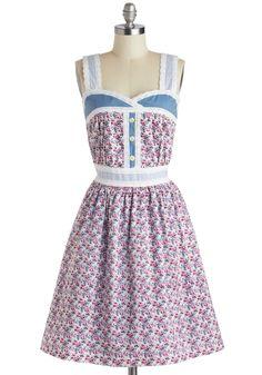 Knitted Dove Blue Ribbon Bouquet Dress | Mod Retro Vintage Dresses | ModCloth.com