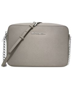 2ca814609260 Michael Michael Kors Jet Set East West Crossgrain Leather Crossbody - Gray  Large Crossbody Bags,