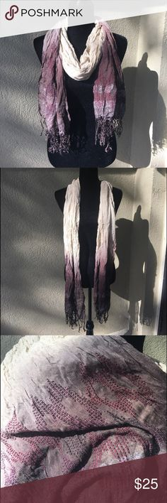 Chicos taupe, purple, metallic scarf Chicos taupe, purple, metallic embellished scarf- the colors in the scarf are simply stunning. Ombré from light taupe, graduating darker to a deep purple/dark brown depending on the light. It has cross stitch embellishment and metallic thread/fibers at the edges and fringe. So much detail!      ✅I ship same or next day ✅Bundle for discount Chico's Accessories Scarves & Wraps