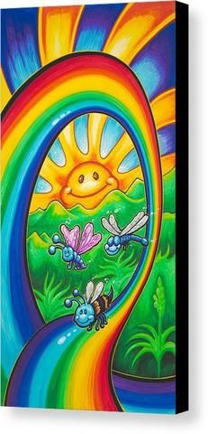 """Drew Brophy Art """" Happy Rainbow Ride"""" S/N Limited edt Canvas x Edition of 250 Sun Painting, Trippy Painting, Rainbow Painting, Cute Canvas Paintings, Canvas Art Prints, Original Paintings, Psychedelic Drawings, Globe Art, Sun Art"""