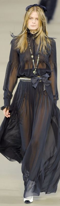 Chanel ~ Couture Black Sheer Pleated Maxi Dress