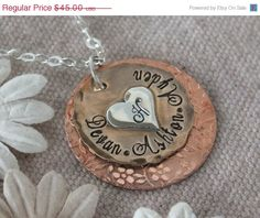 Vacation Sale Mixed Metal Necklace  Hand Stamped by TheSilverWing