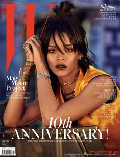 Rihanna on W Korea magazine March cover wearing Dior Spring 2015, Jacquie Aiche cuff bracelets, Jennifer Fisher chokers