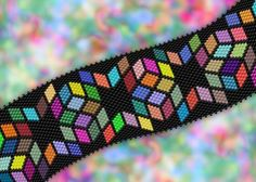 Delica Diamonds Bracelet Chart-peyote by PieceByNumber - Craftsy Beaded Cuff Bracelet, Beaded Jewelry, Beaded Bead, Peyote Stitch Patterns, Bead Loom Patterns, Jewelry Patterns, Bracelet Patterns, Loom Bracelets, Seed Beads
