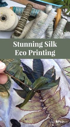 Stunning Silk Eco Printing 2019 Simple instructions to figure out the mysteries of Eco Printing on silk. Full explanation with detailed pictures. Make your own Silk Scarves! The post Stunning Silk Eco Printing 2019 appeared first on Scarves Diy. Thread Painting, Fabric Painting, Fabric Art, Fabric Crafts, Cork Crafts, Wooden Crafts, Bead Crafts, Silk Fabric, Fun Crafts