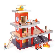 JANOD Fire Station Play Set This complete wooden fire station set is new from Janod.#toys2learn#janod#fire#station#wooden#preschool#toddler#gift#australia#