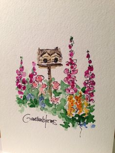 Charming Garden Watercolor Card by gardenblooms on Etsy, $3.50