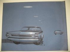 19-3/4 X 25-3/4. Blue canson paper; blue sporty car (type unknown); prismacolor, ink & gouache; Original signed Mayhew (7-16-64); slight water damage on R. edge not affecting picture.