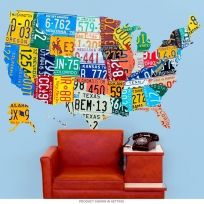 USA 50 Cutout License Plate Style Wall Decal