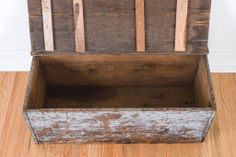 Large Vintage Distressed Wood Farmhouse Trunk – Coffee Table, Blanket Storage, Bench, Rustic