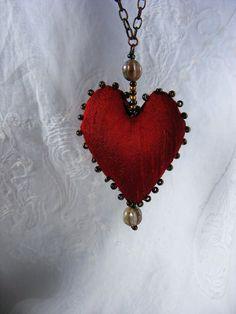Textile fiber necklace - Ruby - Handmade mixed media silk heart necklace