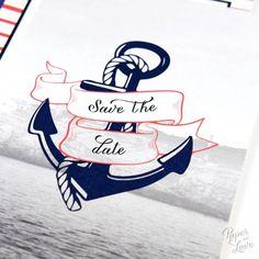 "Wedding save the date - ""Nautical"", navy, sailor, anchor, sea, travel, vintage, original - Paper and Love - www.paperandlove.be   __  Faire-part, invitation de mariage - ""Marin"", marin, mer, ancre, voyage, nautique, original, vintage - Paper and Love - www.paperandlove.be"