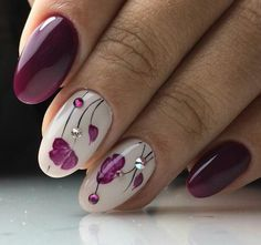 Purple floral nails. Think I'll try this for my friend's wedding