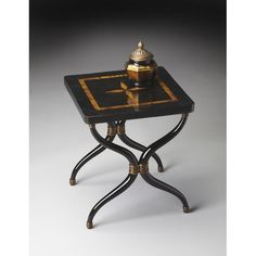 This charming bunching end table provides tremendous function to go with its good looks. Impeccably crafted from wood solids and cast resin components, its top boasts impeccable inlays of black fossil stone and yellow pen shell veneers. Gather a grouping of these tables for one large surface or scatter them for entertaining.