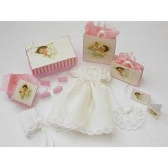 Doll House Miniature Baby Christening Gown and Box