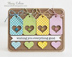 card by Stacy Cohen.... punched tags and used the negatives, too!.... sooooo cute!