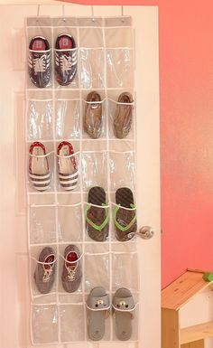 A 24-pocket clear over-the-door organizer to store your shoes, jewelry, accessories, or even use in another room of the house for things like cleaning supplies! 25 Organization Products Under $10 You'll Wonder Why You Waited So Long To Buy Makeup Storage Display, Diy Storage, Storage Spaces, Storage Ideas, Storage Solutions, Creative Storage, Over The Door Organizer, Hanging Shoe Organizer, Shoes Organizer