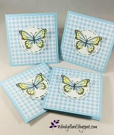 Afbeeldingsresultaat voor stampin up butterfly gala Butterfly Cards, Flower Cards, Blue Butterfly, Poinsettia Cards, Square Card, Small Cards, Card Patterns, Thing 1, Cute Cards