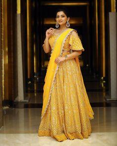Yellow Lehenga, Party Wear Indian Dresses, Half Saree Designs, Woman Outfits, Fashion Heels, Hair Jewelry, Asian Fashion, Her Style, Designer Dresses