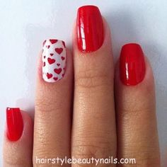 Sweetheart Red Nails Art