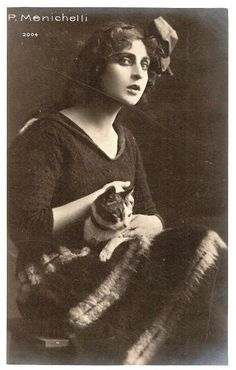 Pina Menichelli, actress with a cat  #famous #people #cats