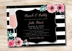 Brunch and Bubbly Bridal Floral Stripe Shower Invitation, Glitter Bridal Shower Invitation - Printable digital file or printed invitations by PaperHeartCompany on Etsy