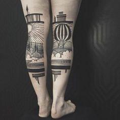 Figuras inspiradoras de paisajes arquitectónicos protagonizan una línea de tatuajes monocromáticos y de líneas geométricas. Notas relacionadas: Houston Patton y Dagny Fox dan vida a …