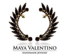 Gold Ear cuff Bridal ear cuff Elegant by MayaValentino on Etsy Ear Crawler Earrings, Cuff Earrings, Black Earrings, Rhinestone Earrings, Bridal Earrings, Statement Earrings, Prom Earrings, Prom Jewelry, Jewelry Model