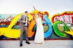 Neon Museum Colorful Vegas wedding