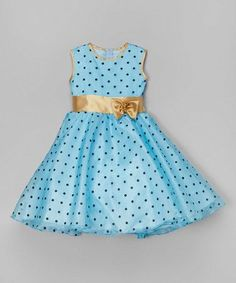Take a look at this Blue & Gold Polka Dot A-Line Dress - Infant, Toddler & Girls on zulily today!