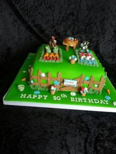 Garden theme birthday cake. 90th birthday cake. 90th Birthday Cakes, 90th Birthday Parties, Garden Theme Birthday, Dad Cake, Birthday Greetings, Gingerbread, Projects To Try, Happy, Desserts