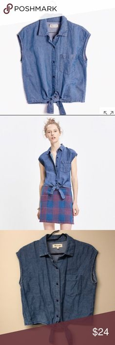 7e28ccf95098af Madewell Denim Sleeveless Crop Top Vintage inspired button down tie front  top that is perfectly suited
