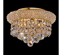 Primo Royal Cut Crystal with Gold Three-Light Ceiling Light