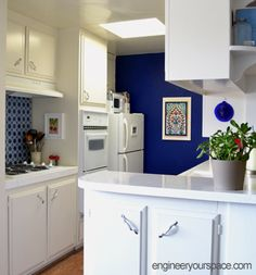 temporary backsplash and temporary wallpaper blue kitchen ideas
