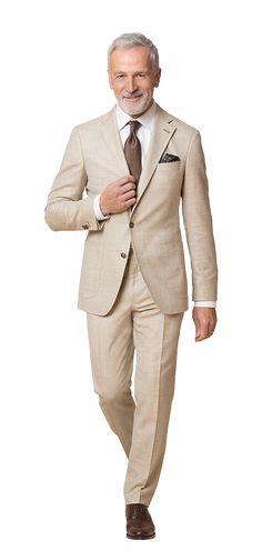 DOLZER Herren Anzug aus Baumwolle Leinen und Seide Smart Casual