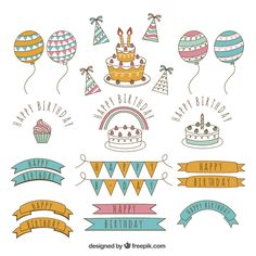 Pack of hand-drawn birthday elements Free Vector Creative Birthday Cards, Happy Birthday Signs, Birthday Letters, Birthday Gifts For Best Friend, Happy Birthday Calligraphy, Happy Birthday Typography, Watercolor Birthday Cards, Birthday Card Drawing, Eid Cards