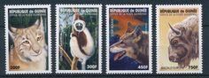 [26387] Guinea 1998 Wild Animals Cat Monkey Wolf Bison MNH