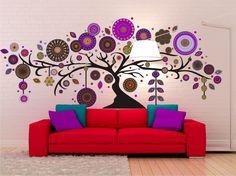 arbol y ombu con mandalas, vinilo decorativo grande de pared