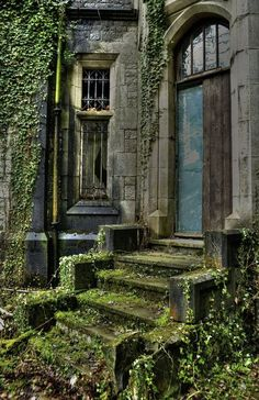 Old abandoned mansion or church with mossy steps. The Fall of the House of Usher.