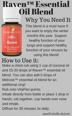 Raven essential oil blend is a must have for the winter months. Support your respiratory system with this blend. Your Lungs Will Thank You!!! www.lifeisbetteroiled.com