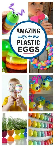 25 fun & creative w 25 fun & creative ways to use plastic Easter eggs. Don't toss them after Easter or store them away; try some of these fun ideas instead! Easter Activities For Kids, Easter Games, Preschool Crafts, Kids Crafts, Plastic Egg Crafts For Kids, Children Activities, Spring Activities, Bible Crafts, Teaching Activities