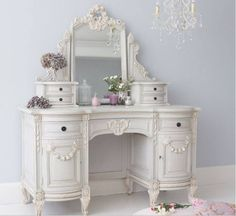 $2100.00 Shabby French White Angel Wing Chic Bedroom Vanity Dressing Table  W Tiara Mirror | EBay | Remodeling Ideas | Pinterest | White Angel Wings,  ...