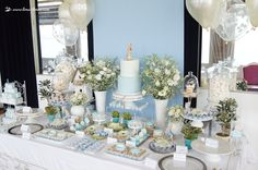 The dessert table for this Peter Rabbit themed baptism party